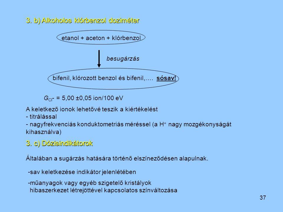37 3. b) Alkoholos klórbenzol doziméter etanol + aceton + klórbenzol bifenil, klórozott benzol és bifenil,…. sósav! besugárzás G Cl - = 5,00 ±0,05 ion