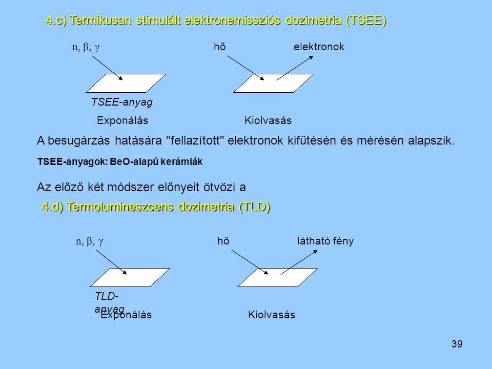 39 ExponálásKiolvasás n, β, γ hőelektronok TSEE-anyag 4.c) Termikusan stimulált elektronemissziós dozimetria (TSEE) A besugárzás hatására