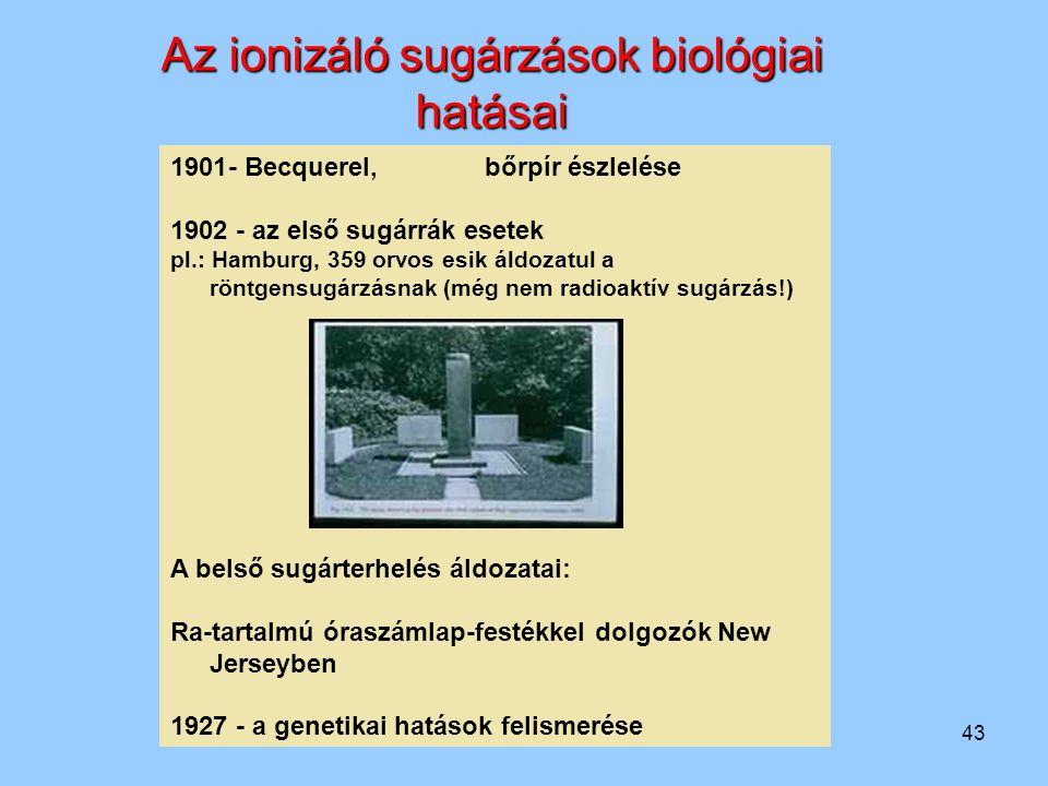 43 1901- Becquerel, bőrpír észlelése 1902 - az első sugárrák esetek pl.: Hamburg, 359 orvos esik áldozatul a röntgensugárzásnak (még nem radioaktív su