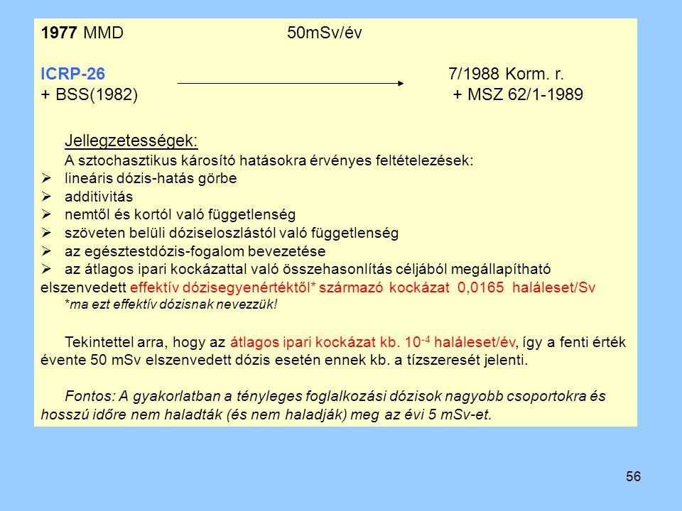 56 1977 MMD 50mSv/év ICRP-26 7/1988 Korm. r. + BSS(1982) + MSZ 62/1-1989 Jellegzetességek: A sztochasztikus károsító hatásokra érvényes feltételezések