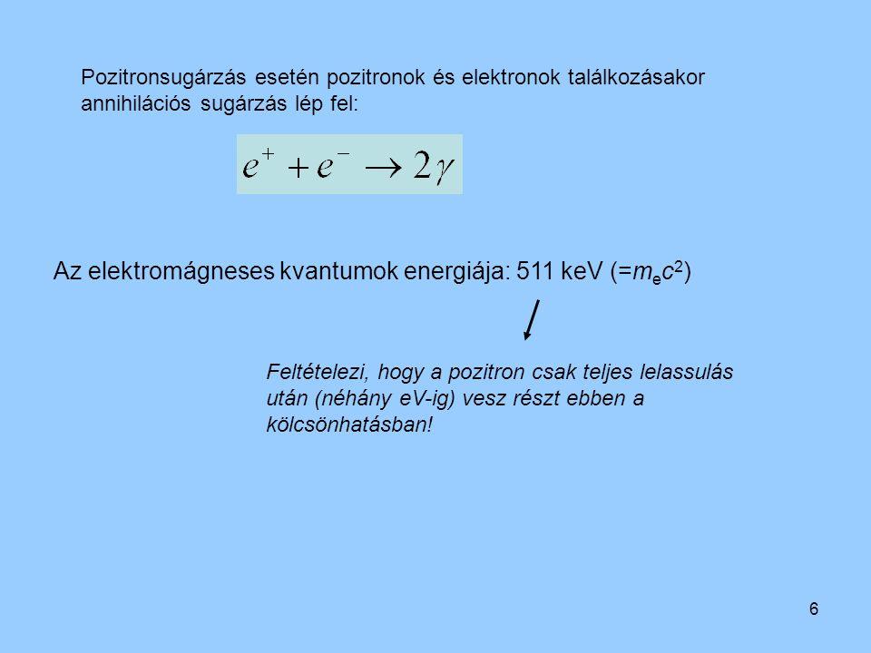 6 Pozitronsugárzás esetén pozitronok és elektronok találkozásakor annihilációs sugárzás lép fel: Az elektromágneses kvantumok energiája: 511 keV (=m e