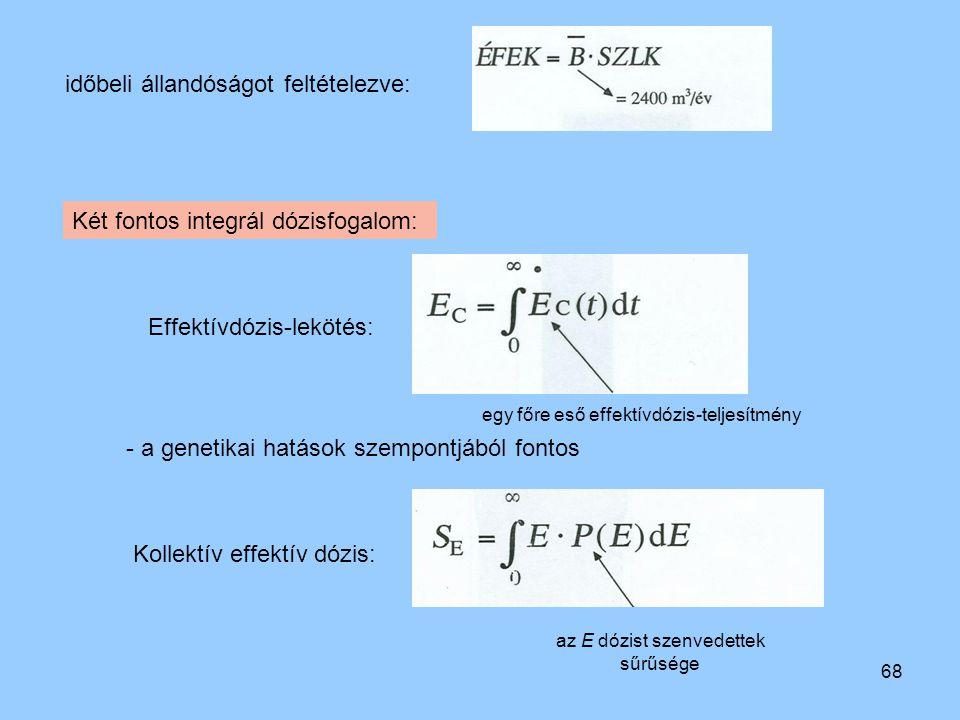 68 időbeli állandóságot feltételezve: Két fontos integrál dózisfogalom: Effektívdózis-lekötés: egy főre eső effektívdózis-teljesítmény - a genetikai h