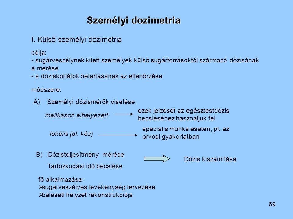 69 Személyi dozimetria I. Külső személyi dozimetria célja: - sugárveszélynek kitett személyek külső sugárforrásoktól származó dózisának a mérése - a d