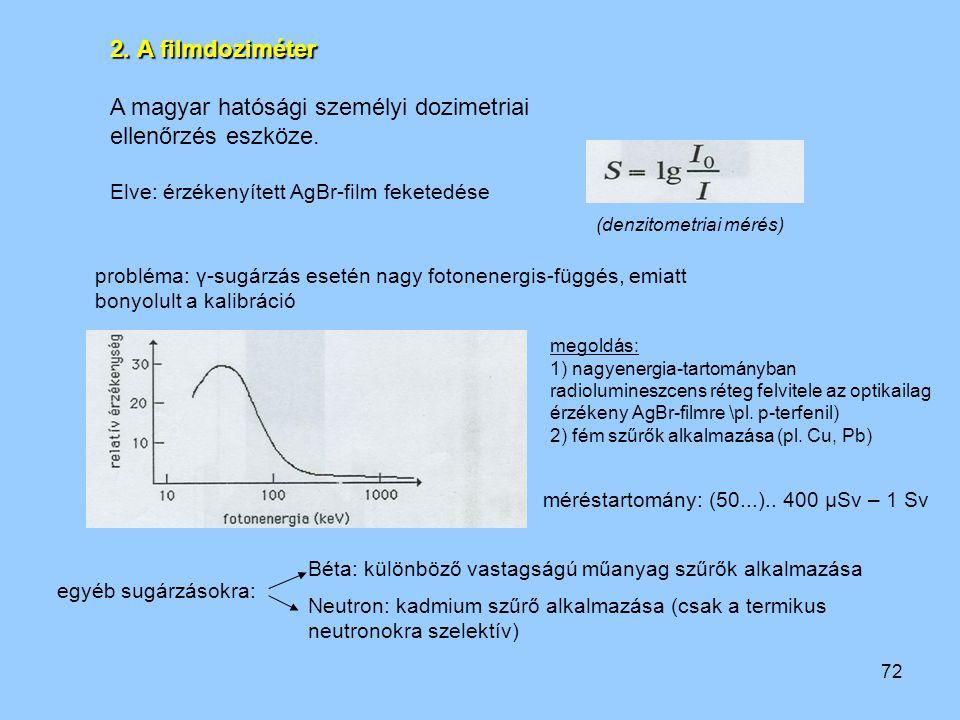 72 2. A filmdoziméter A magyar hatósági személyi dozimetriai ellenőrzés eszköze. Elve: érzékenyített AgBr-film feketedése (denzitometriai mérés) probl
