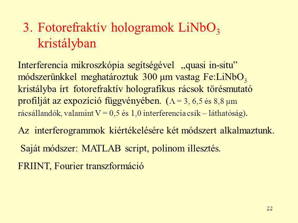 """22 3.Fotorefraktív hologramok LiNbO 3 kristályban Interferencia mikroszkópia segítségével """"quasi in-situ módszerünkkel meghatároztuk 300 μm vastag Fe:LiNbO 3 kristályba írt fotorefraktív holografikus rácsok törésmutató profilját az expozíció függvényében."""