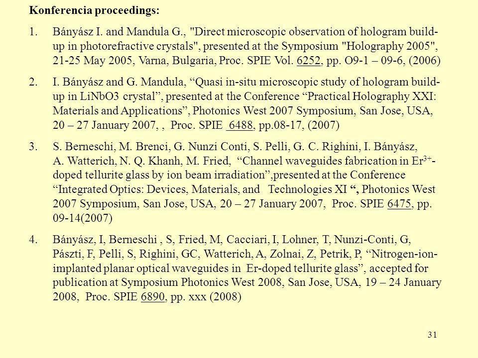 31 Konferencia proceedings: 1.Bányász I.