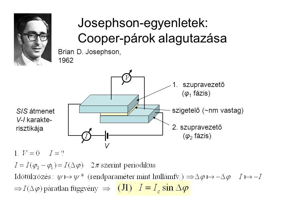 Időfüggő rendparaméter: 2. Josephson- egyenlet Váltakozóáramú Josephson-effektus