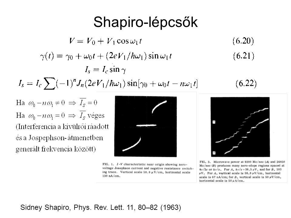 Shapiro-lépcsők Sidney Shapiro, Phys. Rev. Lett. 11, 80–82 (1963)