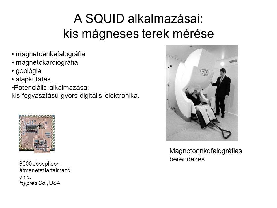A SQUID alkalmazásai: kis mágneses terek mérése magnetoenkefalográfia magnetokardiográfia geológia alapkutatás.