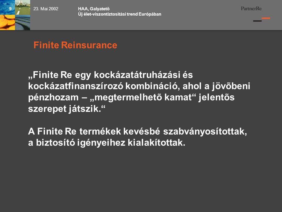 HAA, Galyatetõ Új élet-viszontiztosítási trend Európában 923.