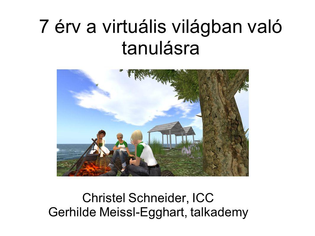 7 érv a virtuális világban való tanulásra Christel Schneider, ICC Gerhilde Meissl-Egghart, talkademy