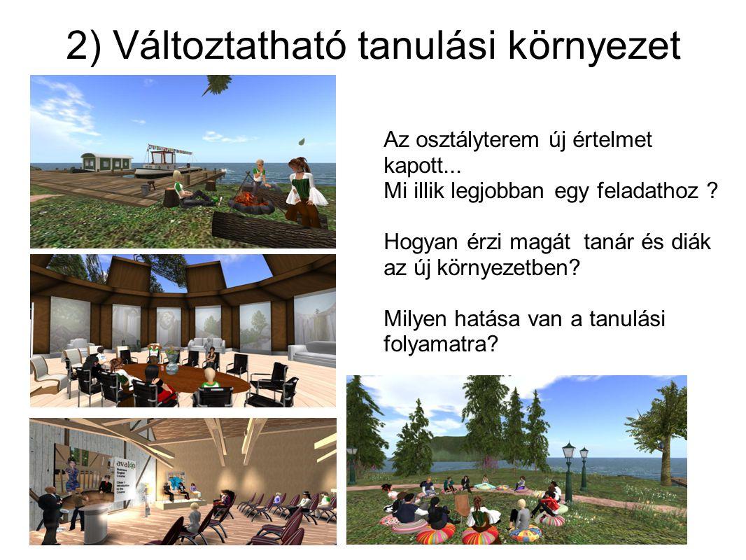 2) Változtatható tanulási környezet Az osztályterem új értelmet kapott...