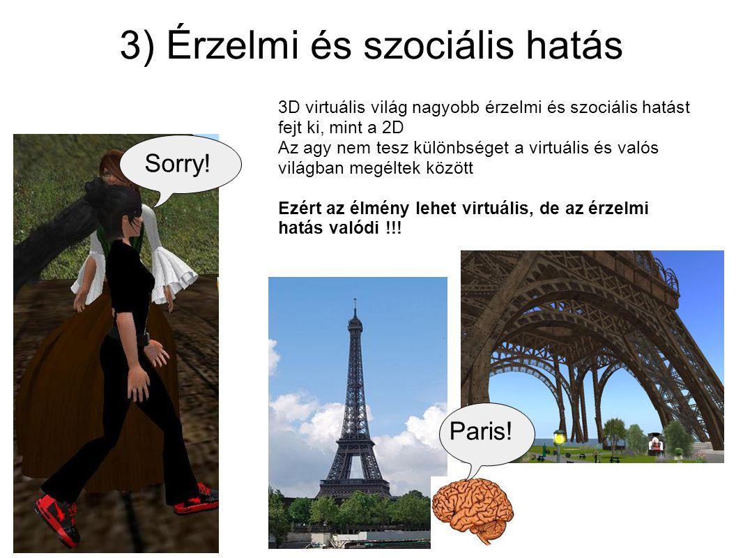 3) Érzelmi és szociális hatás 3D virtuális világ nagyobb érzelmi és szociális hatást fejt ki, mint a 2D Az agy nem tesz különbséget a virtuális és val