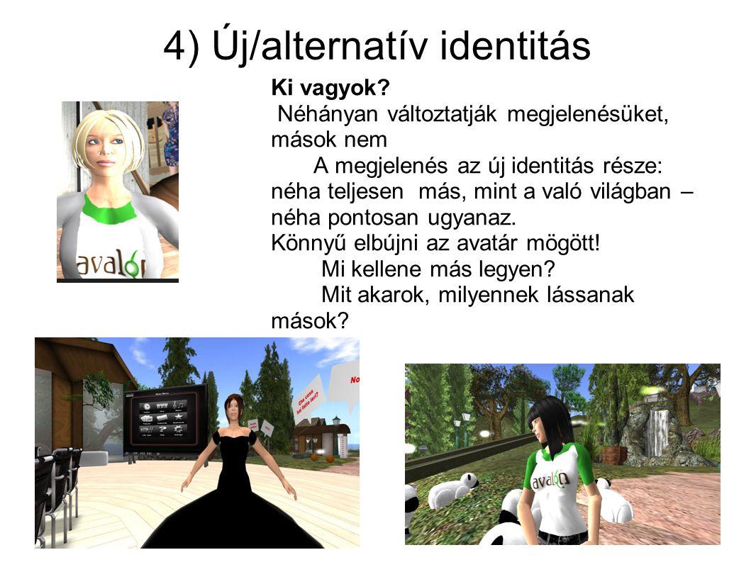 4) Új/alternatív identitás Ki vagyok? Néhányan változtatják megjelenésüket, mások nem A megjelenés az új identitás része: néha teljesen más, mint a va