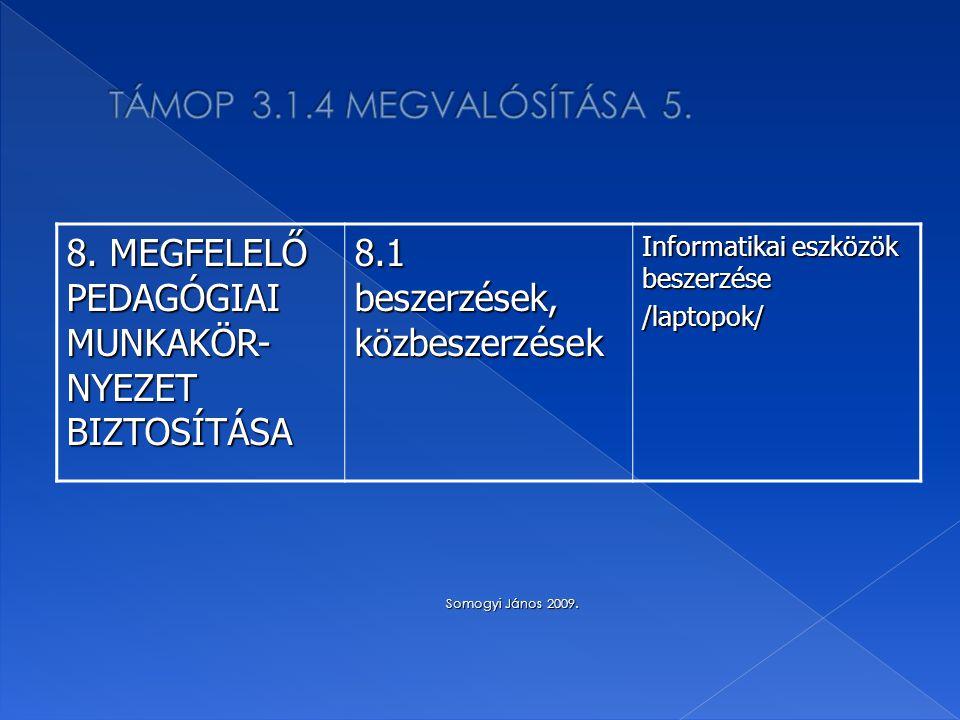 8. MEGFELELŐ PEDAGÓGIAI MUNKAKÖR- NYEZET BIZTOSÍTÁSA 8.1 beszerzések, közbeszerzések Informatikai eszközök beszerzése /laptopok/ Somogyi János 2009. S