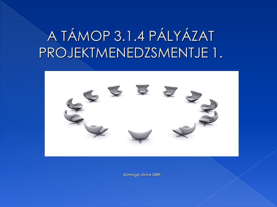 A TÁMOP 3.1.4 PÁLYÁZAT PROJEKTMENEDZSMENTJE 1. Somogyi János 2009. Somogyi János 2009.