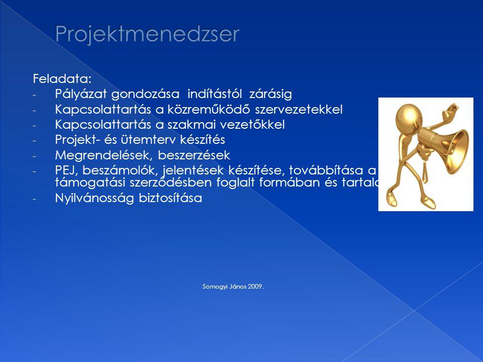 Feladata: - Pályázat gondozása indítástól zárásig - Kapcsolattartás a közreműködő szervezetekkel - Kapcsolattartás a szakmai vezetőkkel - Projekt- és