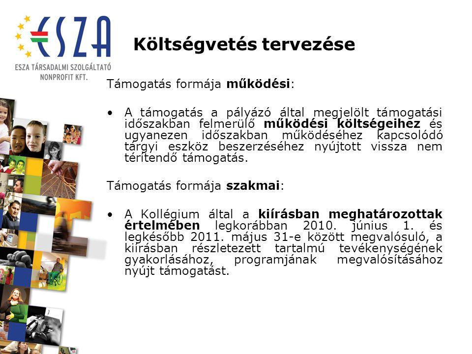 Költségvetés tervezése Támogatható kiadások Működési: A működési pályázatoknál a Tanács IV.