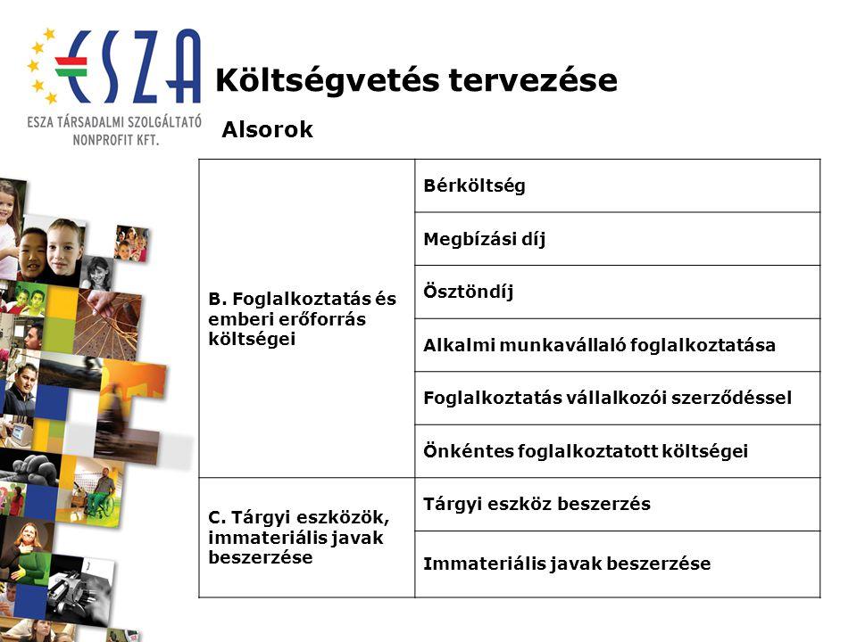Költségvetés tervezése Alsorok B.