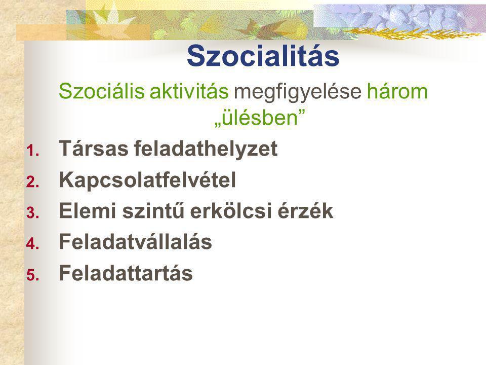 """Szocialitás Szociális aktivitás megfigyelése három """"ülésben 1."""