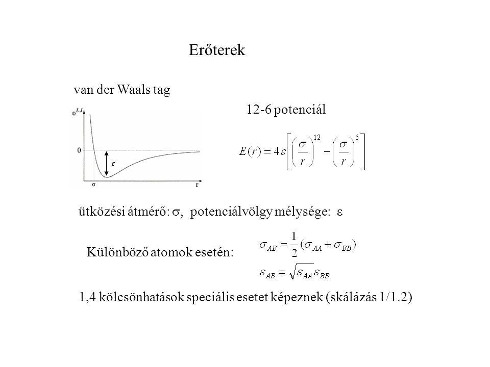 Erőterek van der Waals tag 12-6 potenciál ütközési átmérő: , potenciálvölgy mélysége:  Különböző atomok esetén: 1,4 kölcsönhatások speciális esetet képeznek (skálázás 1/1.2) 