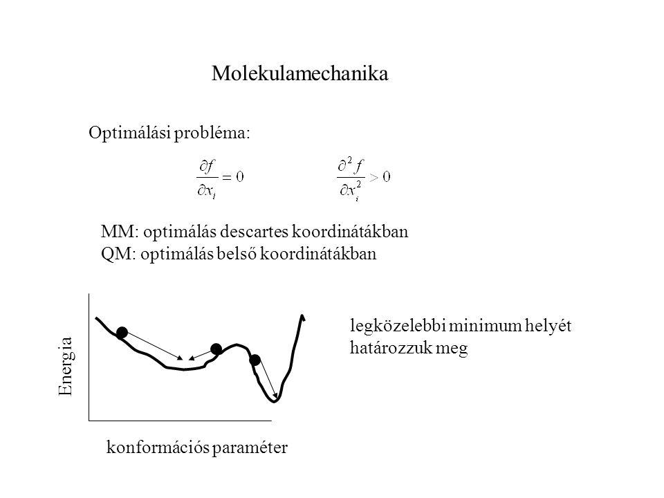 Molekulamechanika Optimálási probléma: MM: optimálás descartes koordinátákban QM: optimálás belső koordinátákban Energia konformációs paraméter legköz