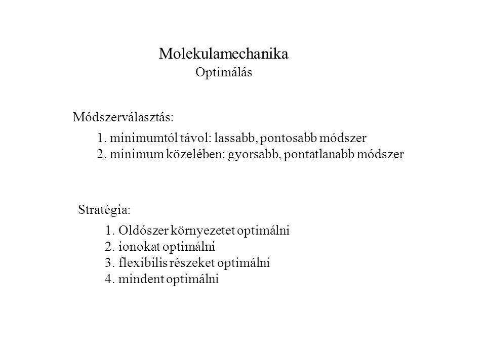 Molekulamechanika Optimálás Módszerválasztás: 1. minimumtól távol: lassabb, pontosabb módszer 2.