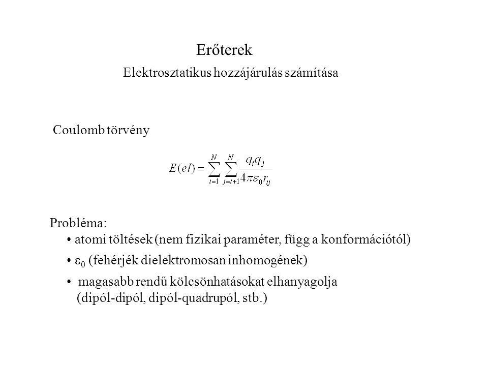 Erőterek Elektrosztatikus hozzájárulás számítása Coulomb törvény Probléma: atomi töltések (nem fizikai paraméter, függ a konformációtól)  0 (fehérjék