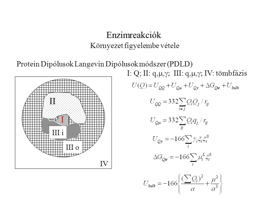 Enzimreakciók Környezet figyelembe vétele Protein Dipólusok Langevin Dipólusok módszer (PDLD) II I III o IV III i I: Q; II: q, ,  III: q, , 