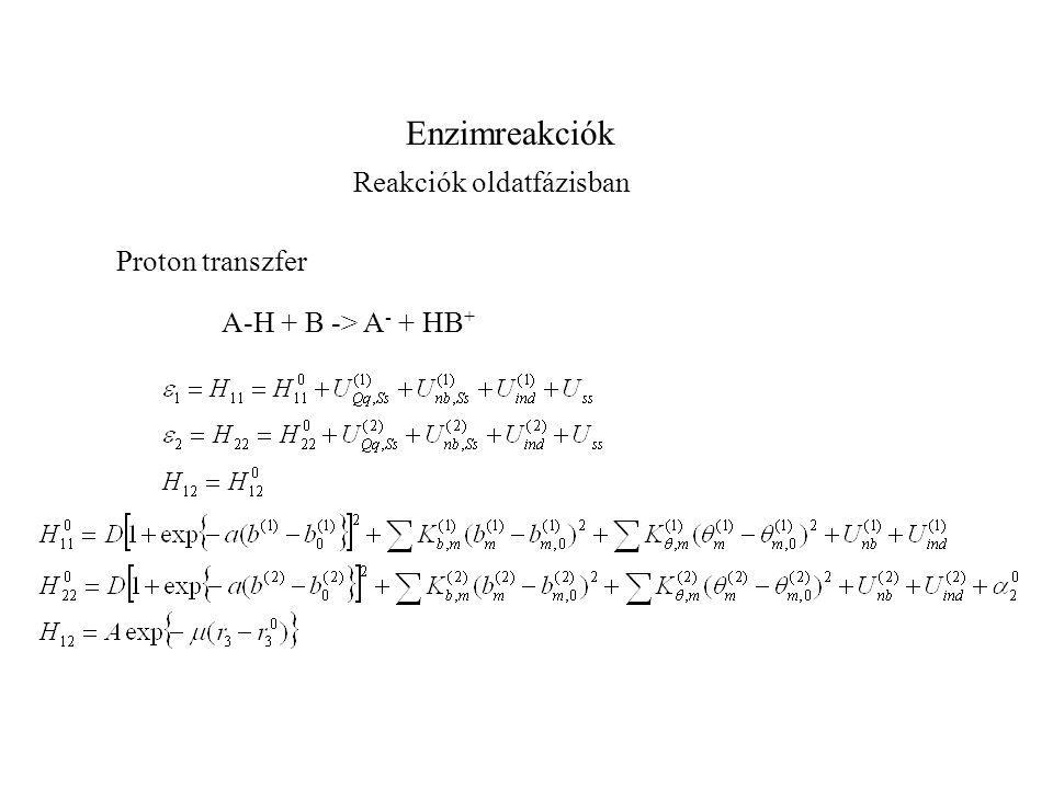 Enzimreakciók Proton transzfer Reakciók oldatfázisban A-H + B -> A - + HB +