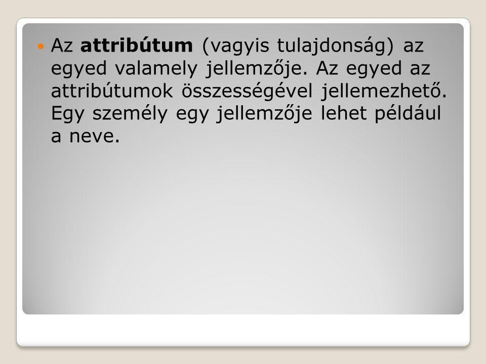 Az attribútum (vagyis tulajdonság) az egyed valamely jellemzője. Az egyed az attribútumok összességével jellemezhető. Egy személy egy jellemzője lehet