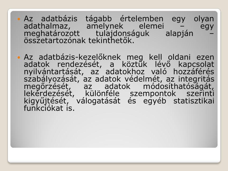Az adatbázis tágabb értelemben egy olyan adathalmaz, amelynek elemei – egy meghatározott tulajdonságuk alapján – összetartozónak tekinthetők. Az adatb