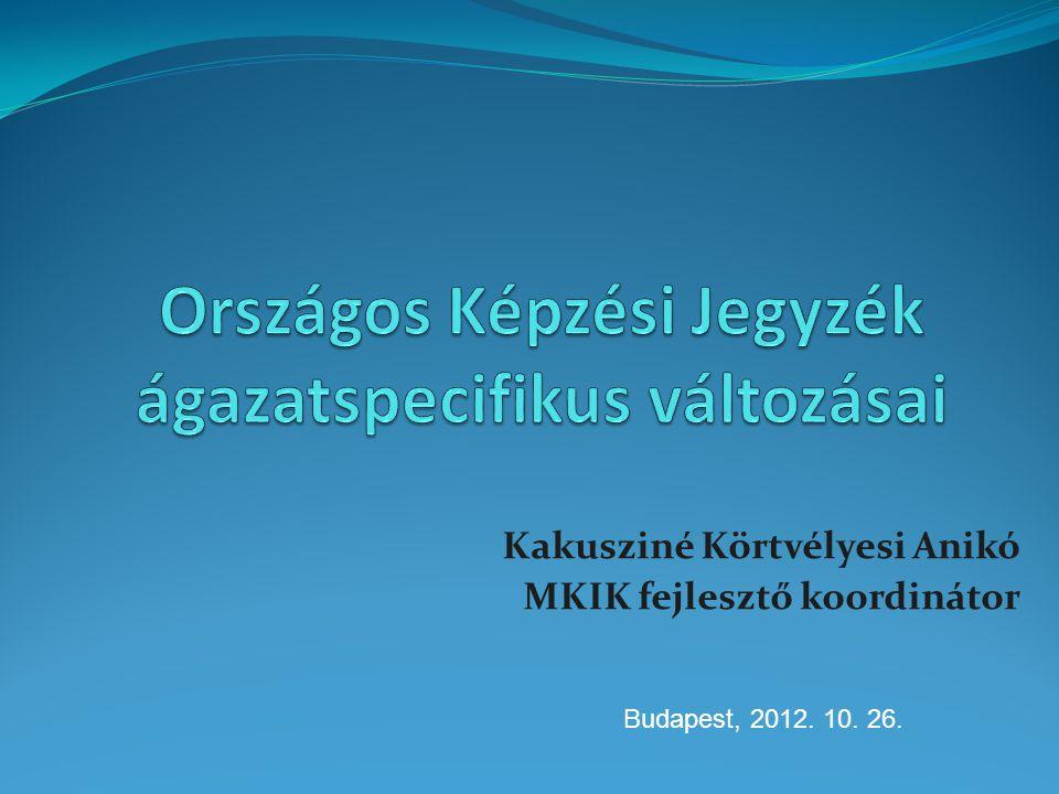 Szakmai és vizsgakövetelmények SzVK nem tartalmazza a követelménymodulokat Modulok külön rendeletben jelennek meg (217/2012.