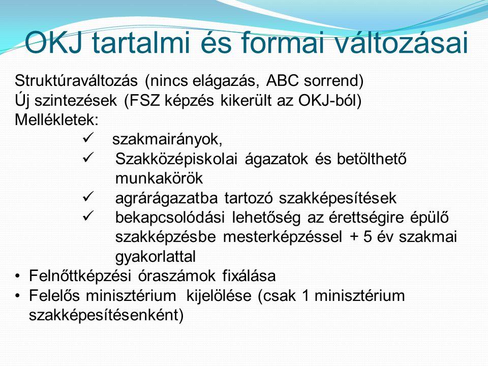 OKJ tartalmi és formai változásai Struktúraváltozás (nincs elágazás, ABC sorrend) Új szintezések (FSZ képzés kikerült az OKJ-ból) Mellékletek: szakmai