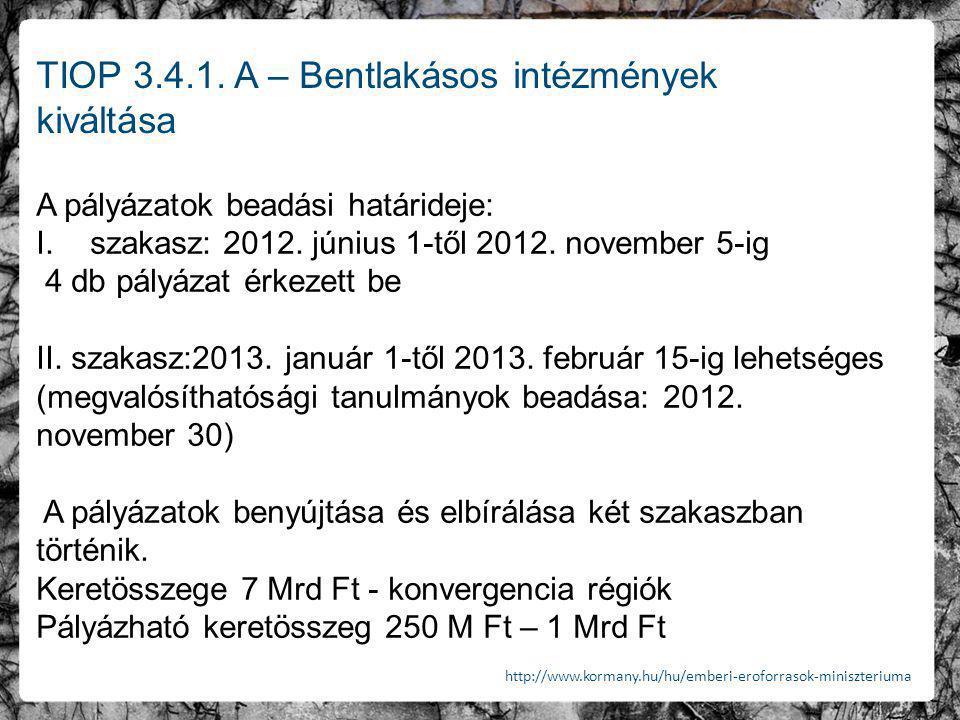 TIOP 3.4.1. A – Bentlakásos intézmények kiváltása A pályázatok beadási határideje: I.szakasz: 2012. június 1-től 2012. november 5-ig 4 db pályázat érk