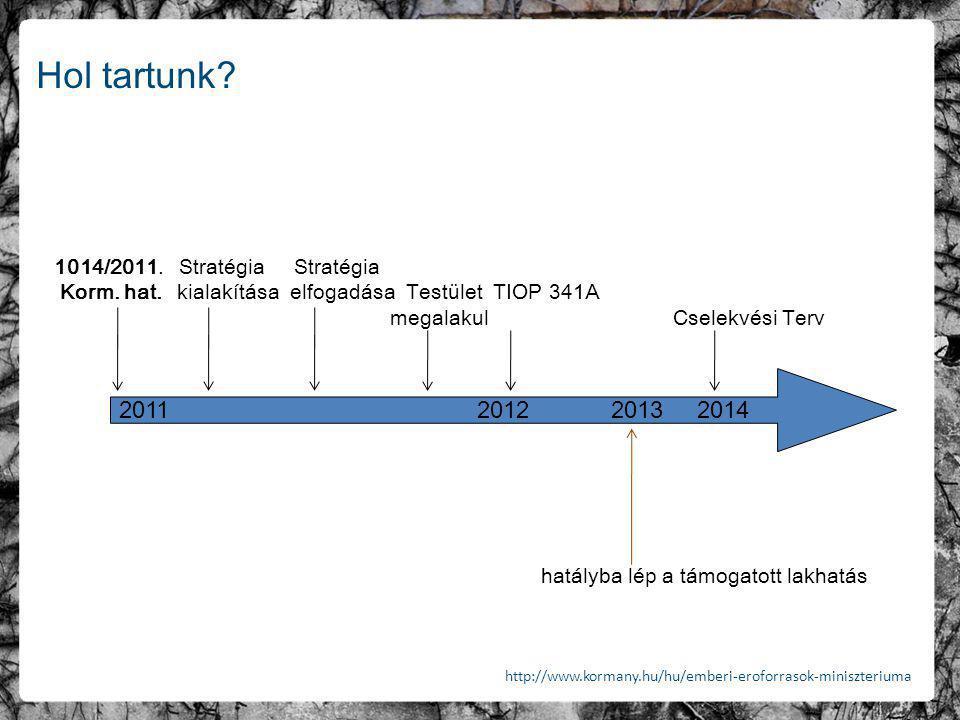 Hol tartunk? 1014/2011. Stratégia Stratégia Korm. hat. kialakítása elfogadása Testület TIOP 341A megalakul Cselekvési Terv hatályba lép a támogatott l