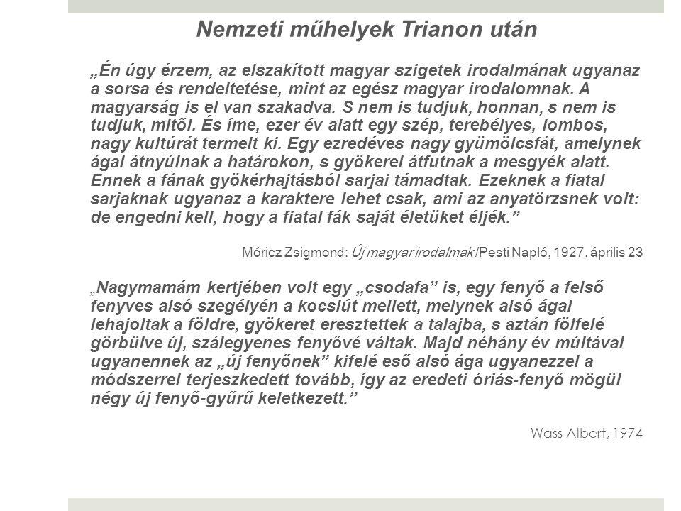 """Nemzeti műhelyek Trianon után """"Én úgy érzem, az elszakított magyar szigetek irodalmának ugyanaz a sorsa és rendeltetése, mint az egész magyar irodalom"""