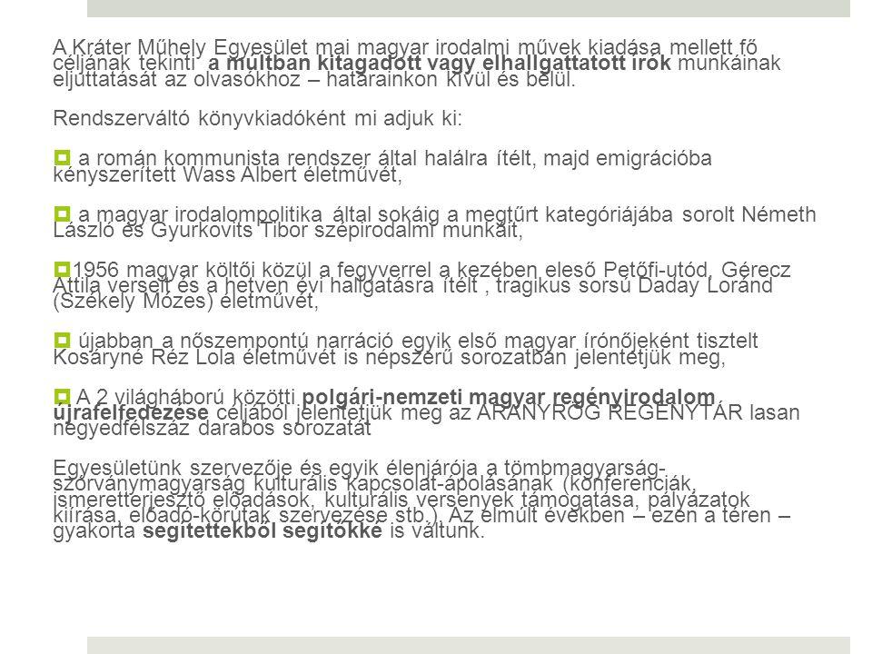 A Kráter Műhely Egyesület mai magyar irodalmi művek kiadása mellett fő céljának tekinti a múltban kitagadott vagy elhallgattatott írók munkáinak eljut