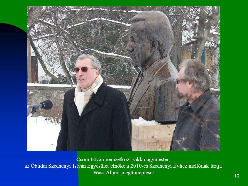 10 Csom István nemzetközi sakk nagymester, az Óbudai Széchenyi István Egyesület elnöke a 2010-es Széchenyi Évhez méltónak tartja Wass Albert megünneplését