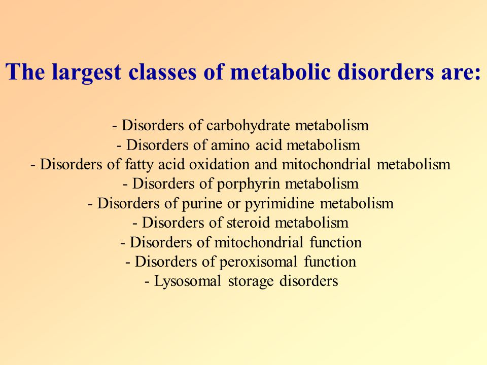 Disorders of carbohydrate metabolism