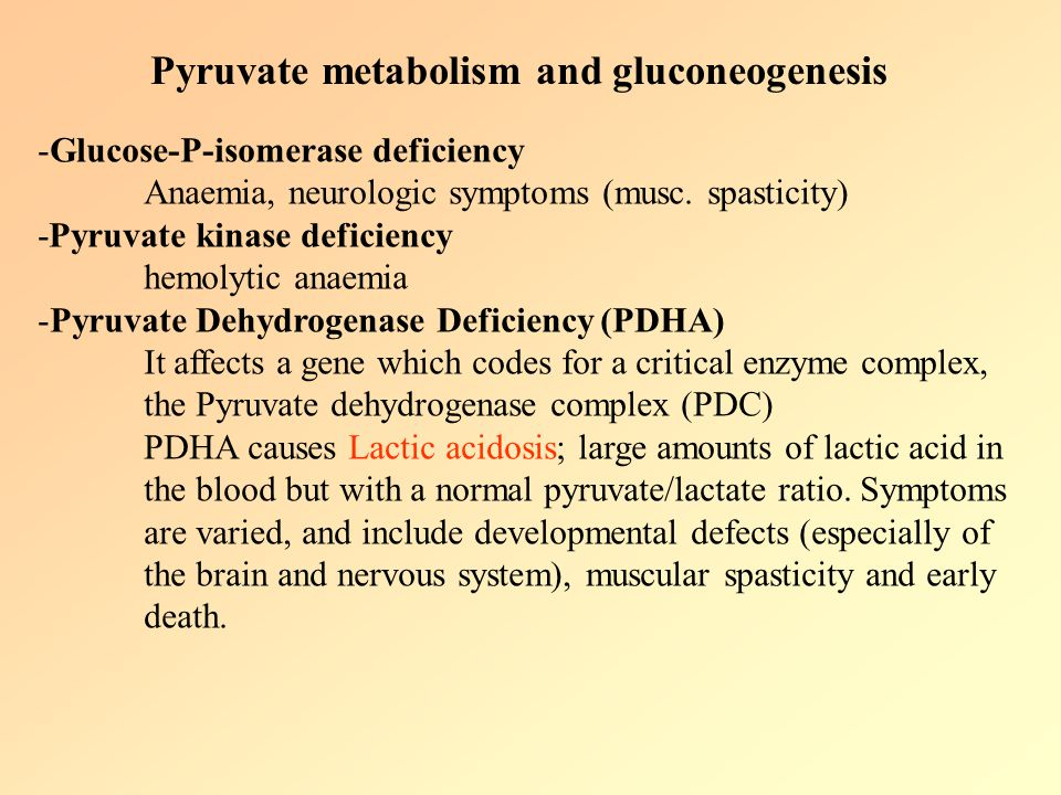 Pyruvate carboxylase deficiency is an inherited disorder that causes lactic acid and other potentially toxic compounds to accumulate in the blood.
