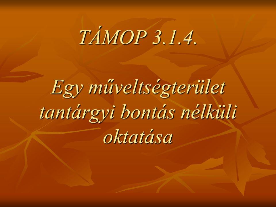 TÁMOP 3.1.4. Egy műveltségterület tantárgyi bontás nélküli oktatása