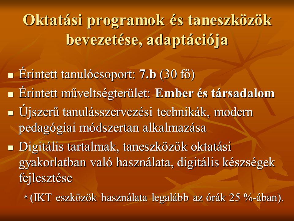 Oktatási programok és taneszközök bevezetése, adaptációja Érintett tanulócsoport: 7.b (30 fő) Érintett tanulócsoport: 7.b (30 fő) Érintett műveltségte