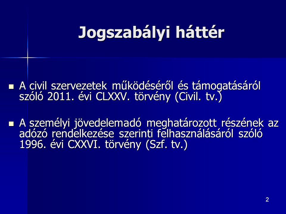 2 Jogszabályi háttér A civil szervezetek működéséről és támogatásáról szóló 2011.