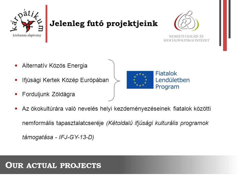 Jelenleg futó projektjeink O UR ACTUAL PROJECTS  Alternatív Közös Energia  Ifjúsági Kertek Közép Európában  Forduljunk Zöldágra  Az ökokultúrára való nevelés helyi kezdeményezéseinek fiatalok közötti nemformális tapasztalatcseréje (Kétoldalú ifjúsági kulturális programok támogatása - IFJ-GY-13-D)