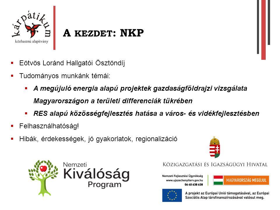A KEZDET : NKP  Eötvös Loránd Hallgatói Ösztöndíj  Tudományos munkánk témái:  A megújuló energia alapú projektek gazdaságföldrajzi vizsgálata Magyarországon a területi differenciák tükrében  RES alapú közösségfejlesztés hatása a város- és vidékfejlesztésben  Felhasználhatóság.