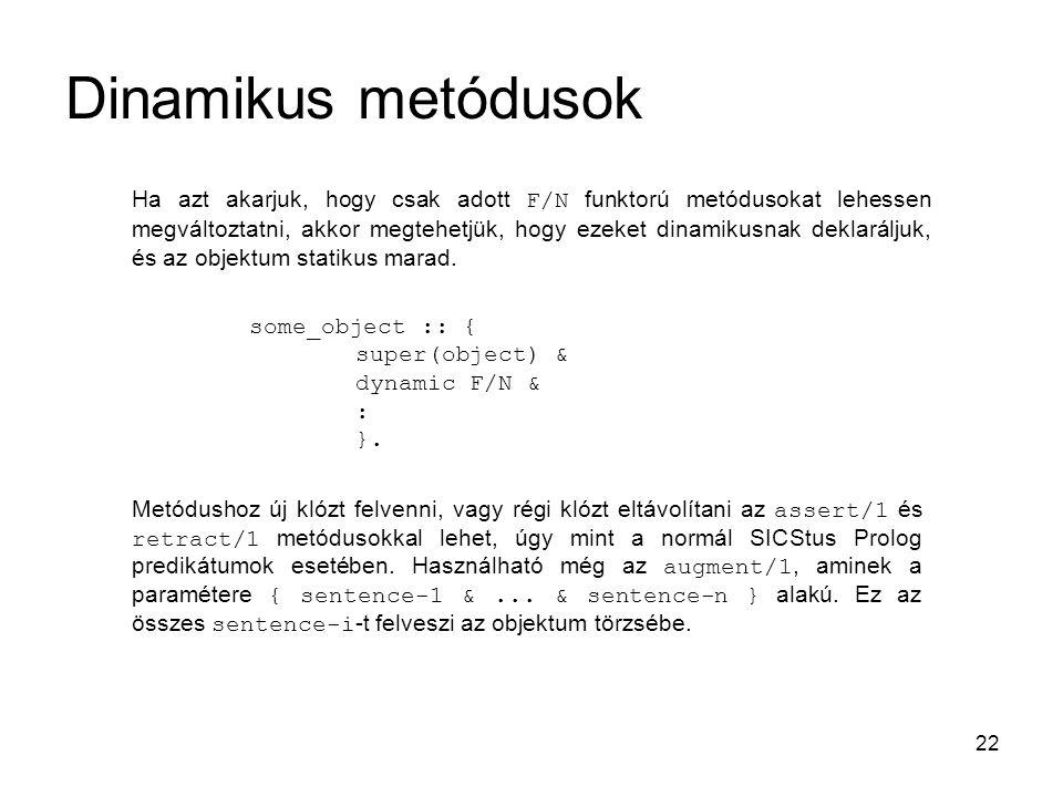 22 Dinamikus metódusok Ha azt akarjuk, hogy csak adott F/N funktorú metódusokat lehessen megváltoztatni, akkor megtehetjük, hogy ezeket dinamikusnak d