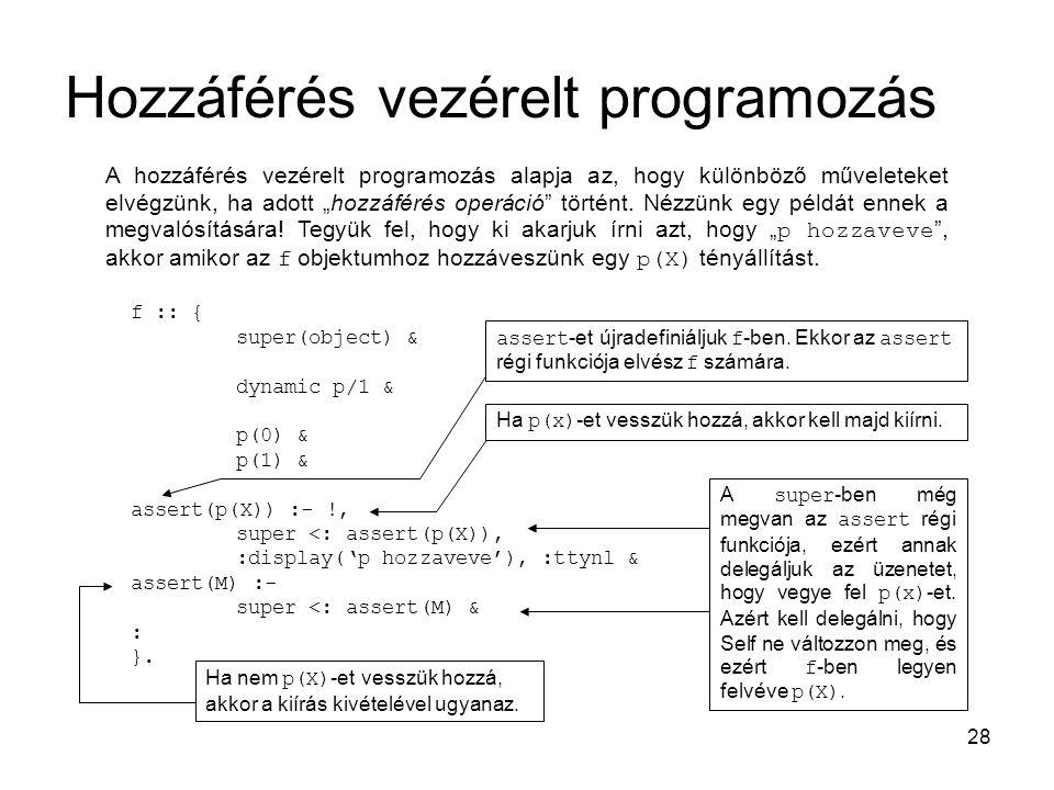"""28 Hozzáférés vezérelt programozás A hozzáférés vezérelt programozás alapja az, hogy különböző műveleteket elvégzünk, ha adott """"hozzáférés operáció történt."""