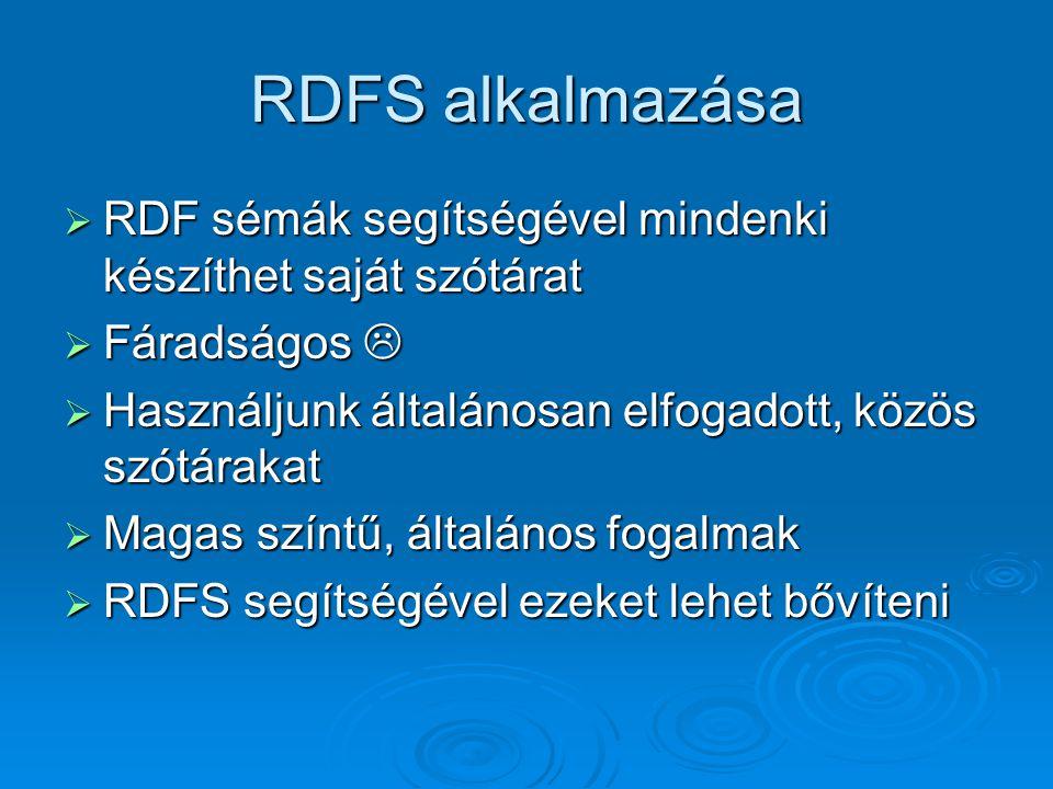 RDFS alkalmazása  RDF sémák segítségével mindenki készíthet saját szótárat  Fáradságos   Használjunk általánosan elfogadott, közös szótárakat  Magas színtű, általános fogalmak  RDFS segítségével ezeket lehet bővíteni