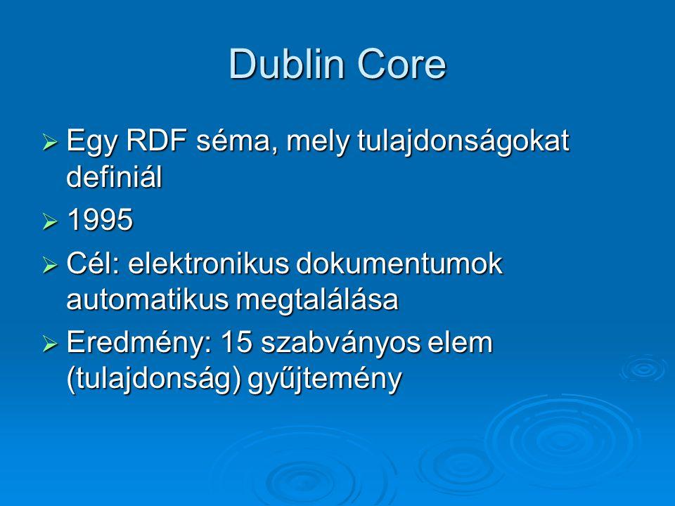 Dublin Core  Egy RDF séma, mely tulajdonságokat definiál  1995  Cél: elektronikus dokumentumok automatikus megtalálása  Eredmény: 15 szabványos elem (tulajdonság) gyűjtemény